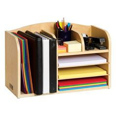 Teacher's Assistant Desktop Organizer - All-wood organizer keeps books, binders, folders and papers neatly organized on your desktop!