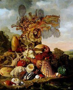 Sea shells and sea plants. 1809. Henricus Franciscus Wiertz. Dutch. 1784-1858. oil on canvas. http://hadrian6.tumblr.com