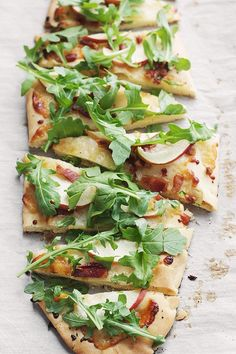 Aged Cheddar, Pancetta, Apple and Arugula Flatbread {use at least half wholegrain flour, and always use organic and grass-fed meat and dairy products for a healthy version}