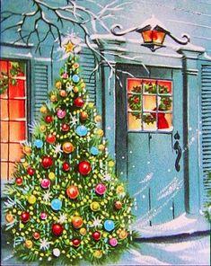 Holiday house -- Vintage Christmas home, Christmas tree, snow, winter, mid century modern. Vintage Christmas Images, Old Fashioned Christmas, Christmas Scenes, Christmas Past, Retro Christmas, Vintage Holiday, Christmas Pictures, Christmas Crafts, Christmas Decorations