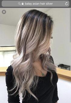 Balayage silver hair on Asian