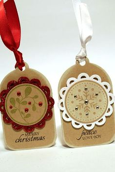 Love these xmas tags Stampin Up Christmas, Noel Christmas, Christmas Gift Tags, Christmas Paper, Xmas Cards, Christmas Projects, All Things Christmas, Handmade Christmas, Cards Diy