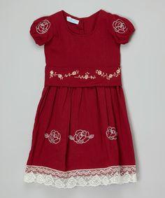 Look what I found on #zulily! Marsala Rose Bella Puff-Sleeve Dress - Toddler & Girls #zulilyfinds