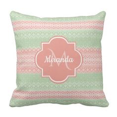 Girly Light Green Knit Coral Pink Stripes and Name Throw Pillow - girly gift gifts ideas cyo diy special unique