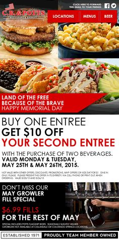 Pinned May 26th: $10 off a second entree today at C.#B. & Potts restaurant & brewery #coupon via The #Coupons App Restaurant Marketing, Happy Memorial Day, Brewery, Entrees, Coupons, Beverages, Menu, Vegetables, Food