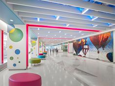 Brightly colored Varia circles and pillar accents create a feeling of optimism in this Philadelphia children's hospital.