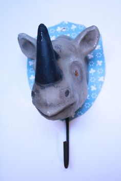 Paper mache rhino hook $72 at Loopy Mango - SoHo Boutique - 78 Grand St., New York - Product