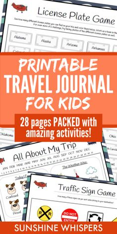 This 28-page kid's travel journal from Sunshine Whispers will make any trip more fun. Great for road trips, family vacations to the beach, airplane travel, or even camping! This fun travel journal includes activities such as tic-tac-toe boards, license plate game, traffic sign game, dot game, alphabet game, battleship, and take a wild guess. #printables #journal #kidsactivities #travel #traveltips Fun Travel, Travel With Kids, Family Vacations, Family Travel, Kids Travel Journal, Dots Game, Traffic Sign, Airplane Travel, Cool Science Experiments