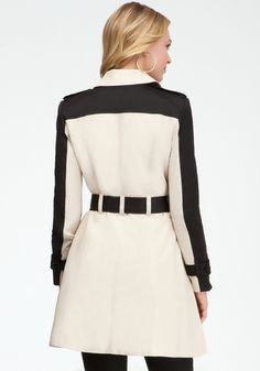Bebe Colorblock Fit Flare Trench Coat in Beige (cement blk) - Lyst