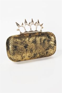 Slither Spine Clutch - Gold, how cool. Looks like a knuckle/duster for a clasp. Just what a girl needs lol.