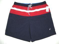 1e1b9cc5c7 Buy Nautica Navy Blue Red Swim Trunks Board Surf Shorts Mens XXL 2x online  | eBay