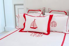red and white bedding, monogram, nautical,   leontine linens, heather schneider, Matchbook magazine