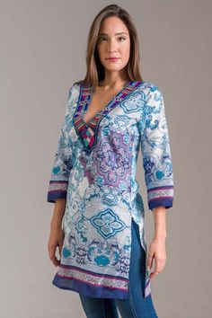 Samadhi Tunic with Embroidered Neckline