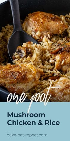 Make this easy one pot mushroom chicken and rice for dinner this week! Tasty chicken with flavourful mushroom rice, all cooked together in one pot. It's easy and delicious! Chicken Rice Recipes, Chicken Flavors, Chicken Rice Bake, Chicken Meals, Chicken Rice Mushroom Casserole, Chicken With Rice, Meals With Rice, Recipes With Rice, Chicken Cooker