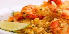 Arroz con Camarones Salteados, una receta simple y deliciosa que podemos preparar también utilizando arroz integral.