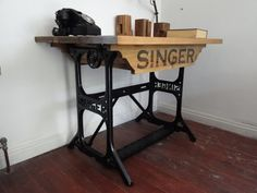 Repurposed Desk - Rustic Reclaimed wood on Cast Iron Industrial Singer Sewing Table Base