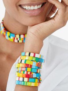 Bracelet Set, Bangle Bracelets, Lava Bracelet, Handmade Bracelets, Rainbow Brite, Beaded Jewelry, Creations, Stress Relief, Beading