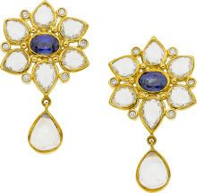 Temple St. Clair Sapphire, Moonstone, Diamond, Gold Earrings From the Ottoman Collection, in 18k gold with blue and white sapphires, moonstone and diamonds.