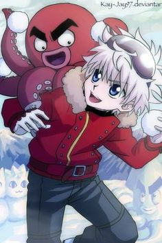 Hunter X Hunter - Kirua (Killua) et Ikarugo (Ikalgo) faisant une bataille de boules de neige
