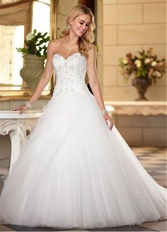 Buy discount Gorgeous Tulle Sweetheart Neckline Dropped Waistline Ball Gown Wedding Dress at Dressilyme.com