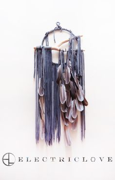 """Pacha Series - 9"""" ring Pacha in Charcoal Grey with Natural Feathers, Hand Carved Branch & Quartz Crystal"""