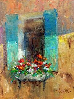"Daily+Paintworks+-+""Window+Flowers""+-+Original+Fine+Art+for+Sale+-+©+Julie+Ford+Oliver"