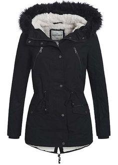 Tally Weijl Damen Winter Parka Kunstfellfutter Kapuze mit abn Kunstfell 4 Taschen schwarz bestellen:          Größenhinweis          36 entspricht .....