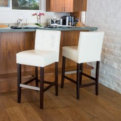 Noble House Franklin Tufted Leather Back Bar Stools (Set of White White Bar Stools, Leather Counter Stools, Counter Height Bar Stools, 30 Bar Stools, Kitchen Stools, Back Bar, Modern Decor, Dining Chairs, Dining Table