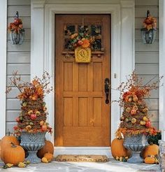Front Porch Decorating Ideas For Fall- can make the trees in the pot and re-decorate for xmas!