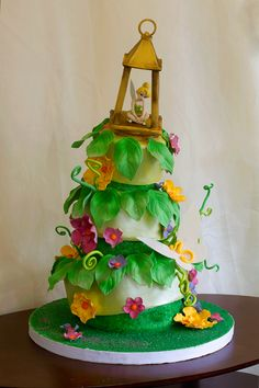 Tinker Bell Fairy Cake with topsy turvy tiers by the OC Cake Studio / http://www.occakestudio.com