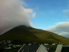 Cloud rolling over Slievemore Clouds, Island, Mountains, Nature, Travel, Naturaleza, Viajes, Islands, Destinations
