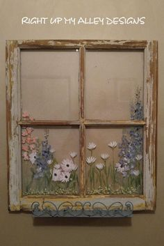 Hand painted floral old window with decorative distressed blue shelf. This would look so cute in a bathroom to store some small items possibly. THIS WINDOW IS SOLD BUT WOULD LOVE TO MAKE ONE LIKE THIS FOR YOU! Measurements: 24 5/8W x 28H Contact me with your zip for your estimated quote. Read my shipping and policies to learn various options. Thanks for checking my shop out. RIGHT UP MY ALLEY DESIGNS