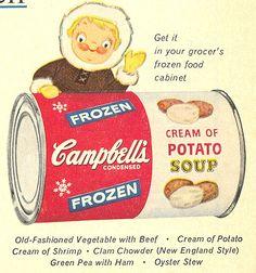 Campbell's Frozen Potato Soup ad, Never heard of this! Weird Vintage, Style Vintage, Vintage Ads, Vintage Posters, Vintage Food, 1950s Posters, Retro Food, Vintage Magazines, Vintage Ephemera