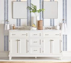 Custom Classic Double Sink Console with Doors Storage - Carrara Marble #potterybarn