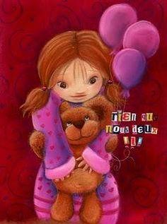 Illustration petite princesse et son ours en peluche