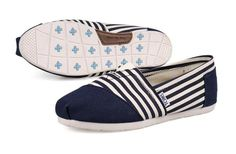 I enjoy these shoes.this is my favorite,It's pretty cool (: Check it out! | See more about blue stripes, toms outlet and outlets.