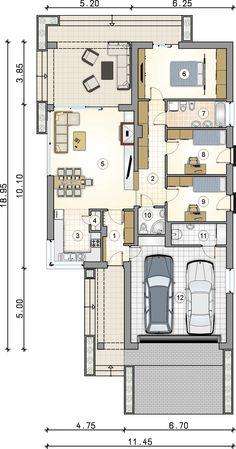 Pliszka V Bis. Parterowy dom z 2-stanowiskowym garażem, bez okapów. StudioAtrium Atrium, Floor Plans, House Design, Studio, Home Layouts, Architecture, Studios, Architecture Design, House Plans