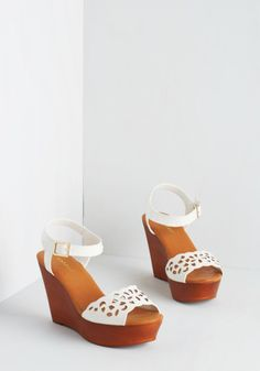 Strut Up and Dance Wedge in White | Mod Retro Vintage Sandals | ModCloth.com