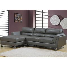 Charcoal Grey Sofa Lounger Monarch Specialties Sofas Sofas & Sectionals…