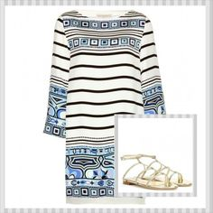 Emilio Pucci loose fitted dress with Jimmy Choo's Doodle glitter sandals