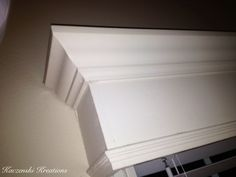 Homemade Window valance using crown molding & wood painted white.  K.Kreations-Homemade,Repurposed and refinished items.Creations available to rent for weddings & events.From lighting to drapery to homemade dance floors.Other items not event related(home design/re-modeling,projects) can be done/made to order.Upcoming website in the works.