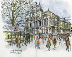 Urban Sketchers: Cardiff Old Library and Christmas Market