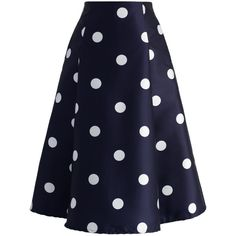 Chicwish Fab in Dots A-line Midi Skirt (137.405 COP) ❤ liked on Polyvore featuring skirts, blue, blue polka dot skirt, a-line skirt, blue midi skirt, a line midi skirt and vintage skirts