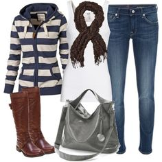 The zip-up, scarf, boots - LOVE