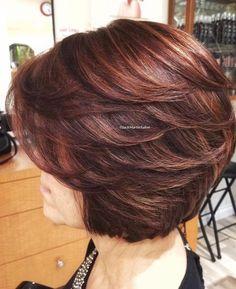 layered bob hairstyles - 80 Best Modern Hairstyles and Haircuts for Women Over 50 Layered Bob Hairstyles, Short Bob Haircuts, Feathered Hairstyles, Hairstyles With Bangs, Cool Hairstyles, Hairstyles 2018, Gorgeous Hairstyles, Black Hairstyles, Hairstyle Ideas