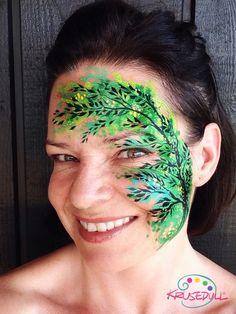 Watercolour tree face paint Wood Nymphs, Face Paint Makeup, Tree Faces, Flowers Nature, Face Art, Makeup Inspiration, Fairies, Watercolour, Body Art