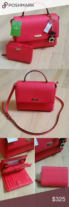 NWT Kate Spade Crossbody NWT Kate Spade Crossbody  Coming from the Newbury Lane collection, the purse is saffiano geranium red leather with gold hardware. The crossbody has adjustable straps and magnetic closure. Easy stowaway for the straps inside the bag if you prefer to hold your bag.  This purchase is for the crossbody only.  Please let me know if you need more pictures or have any questions.  Resonable offers are welcome through the offer button. kate spade Bags Crossbody Bags