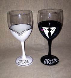 Bride and Groom Hand Painted Wine Glasses by partygirlglasses ...