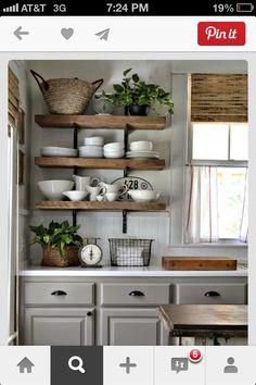 distressed kitchen shelves