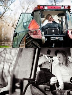 © Illuminated Moments | Country-Rustic Engagements - Do you see their reflection in the little tractor mirror?